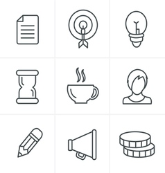 Line Icons Style Business Icons Set Design vector image