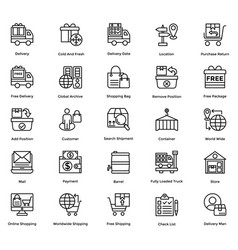 logistic delivery icons set 5 vector image