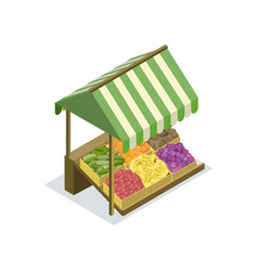 market food counter with canopy isometric icon vector image