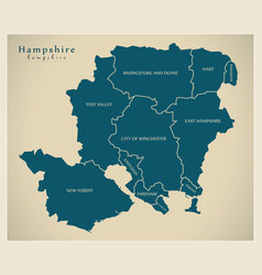Modern map - hampshire county with district vector