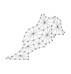 Morocco map of polygonal mosaic lines network vector
