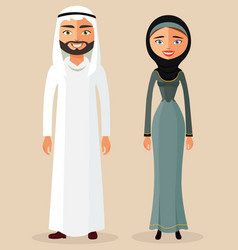 muslim couple arab man and arab woman vector image