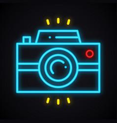 neon camera sign bright photo camera symbol vector image