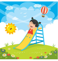 of kid sliding vector image