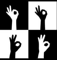 Ok sign silhouette hands icons vector