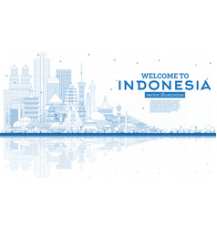 Outline welcome to indonesia skyline with blue vector