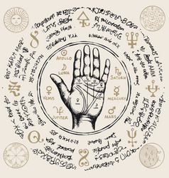 Palmistry map on open palm with old magic symbols vector
