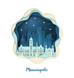 Paper art of minneapolis origami concept vector