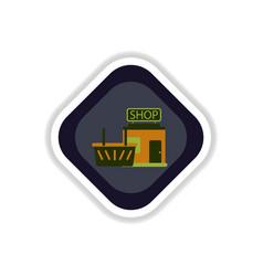 Paper sticker on white background shop basket vector