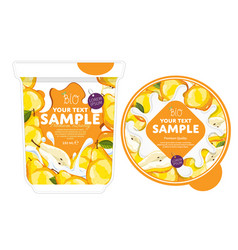 Pear yogurt packaging design template vector