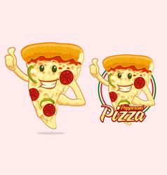 pizza mascot design for pizza vendor vector image