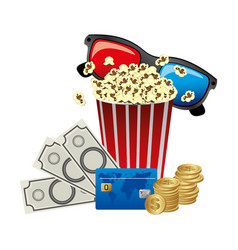 Pop corn 3d glasses and money credit card icon vector