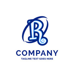 r company name design blue logo design vector image