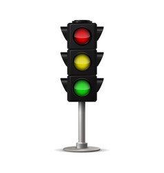 realistic city traffic light stoplight vector image