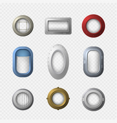 realistic detailed 3d portholes icons set vector image