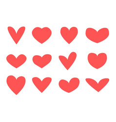 red hearts icons simple heart icon set vector image