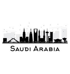 Saudi Arabia skyline black and white silhouette vector