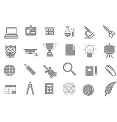 School elements gray icons set vector