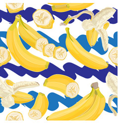 Seamless hand drawn tropical pattern with banana vector