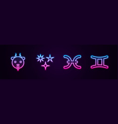 Set line aries zodiac falling star pisces vector