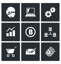 Set of Cryptocurrency Icons Programmer vector