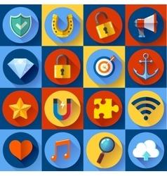 Set of modern flat web icons seo development vector