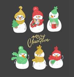 set of winter holidays snowman cheerful snowmen i vector image