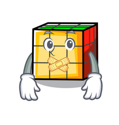 Silent rubik cube mascot cartoon vector