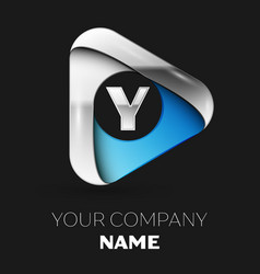 silver letter y logo in silver-blue triangle shape vector image