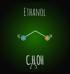 Skeletal formula ethanol alcohol molecule vector