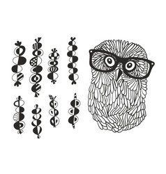 Smart owl and the set of hand drawn design vector