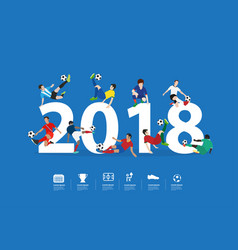 soccer players in action on 2018 new year vector image
