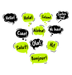 speech bubble hello in different languages vector image