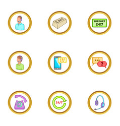 Support icons set cartoon style vector