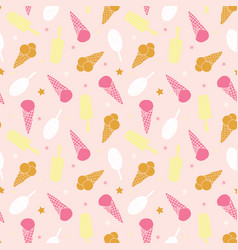 sweet pink ice cream seamless pattern vector image