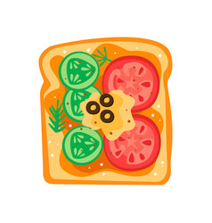 Tasty sandwich with slices of cucumber tomatoes vector