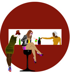 three girls in the stop bare vector image