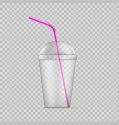 transparent plastic disposable cup with straw vector image