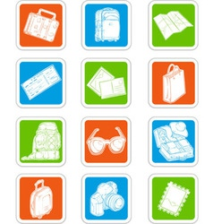 Travel Icons Suitcase Map Ticket vector image