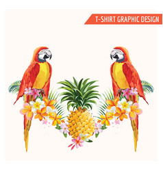 Tropical flowers and parrot birds graphic design vector
