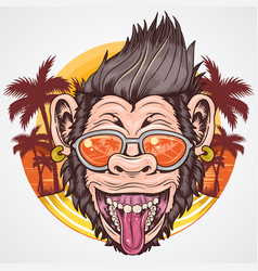 Ummer ape chimpanzee head smile face with coconut vector