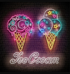 Vintage glow poster with different ice cream in vector