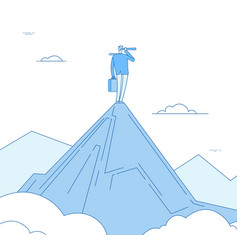 vision concept businessman standing on mountain vector image