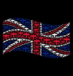 Waving great britain flag pattern of aircraft vector