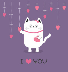 White cat hanging pink hearts dash line heart vector