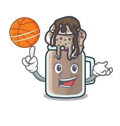 With basketball milkshake character cartoon style vector