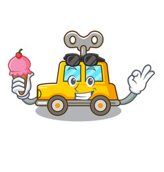With ice cream cartoon clockwork toy car in table vector