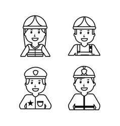 worker set - office worker chef doctor fireman vector image