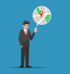 businessman find location in map application on vector image vector image