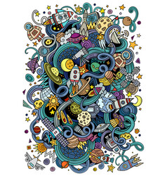 cartoon hand-drawn doodles space vector image